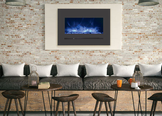 """26"""" Sierra Flush Wall Mount Electric Fireplace w/ Steel Surrounding with Clear Media"""