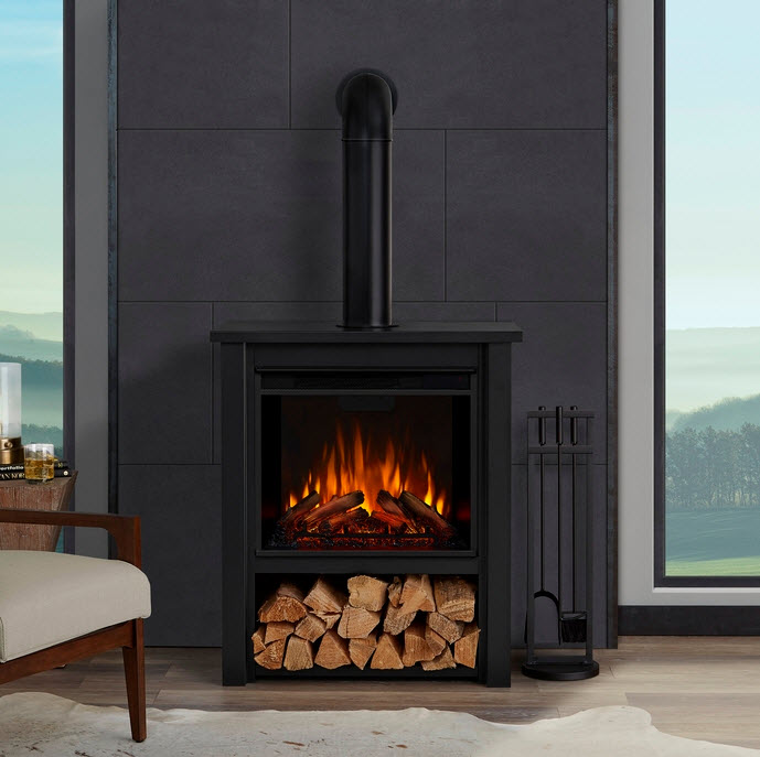 32 inch Hollis Real Flame Black Stove Electric Fireplace