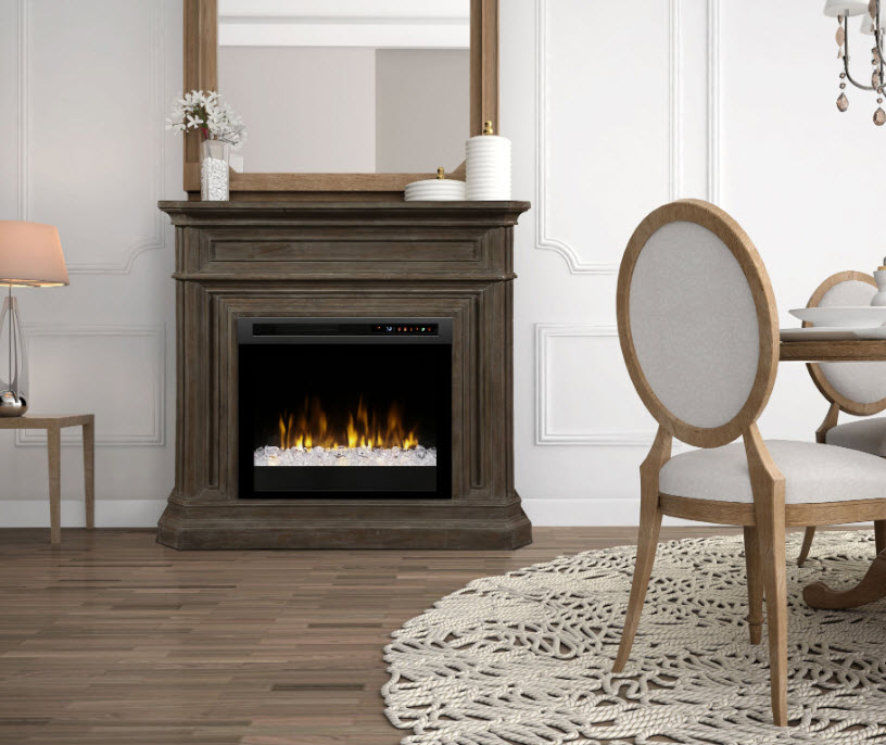 """48"""" Dimplex Ophelia Mantel Electric Fireplace with Acrylic Ember Bed"""