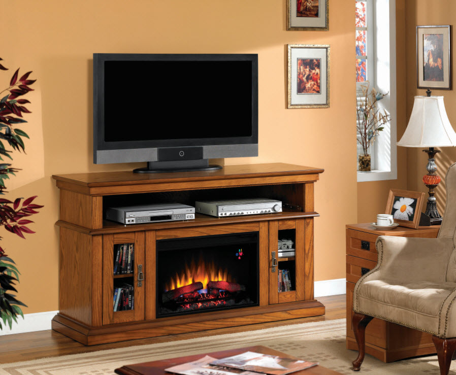 Brookfield Oak Electric Fireplace TV Stand