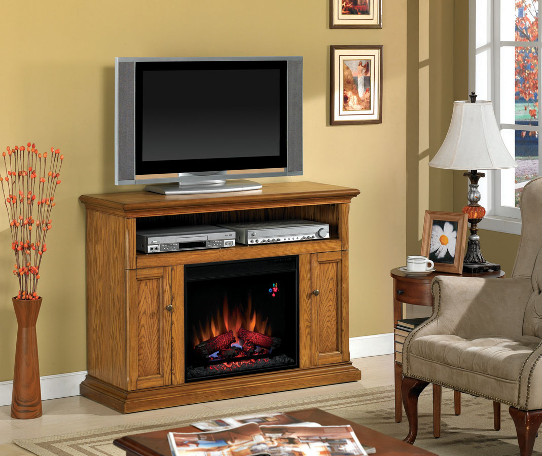 cannes antique oak center electric fireplace