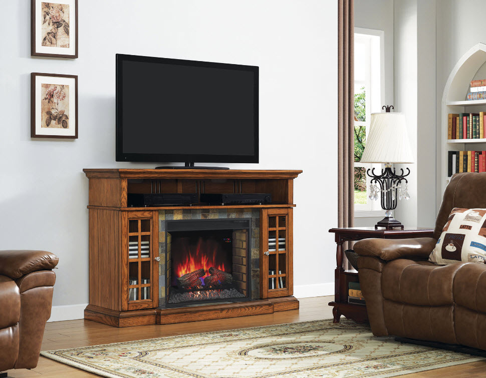 Lakeland Oak Media Electric Fireplace 28MM6307-O107