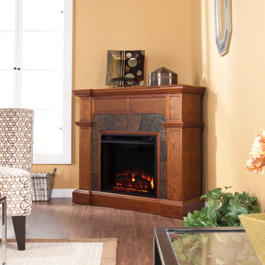 Cypress Mission Oak Convertible Electric Fireplace