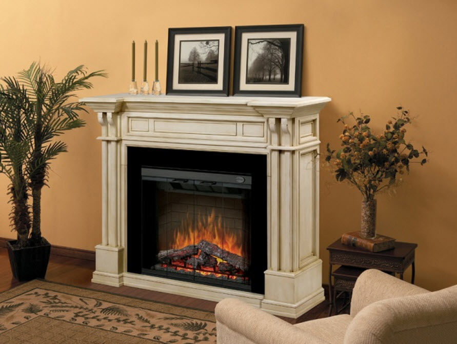 Antique white electric fireplace portablefireplace for Dimplex radiatori elettrici