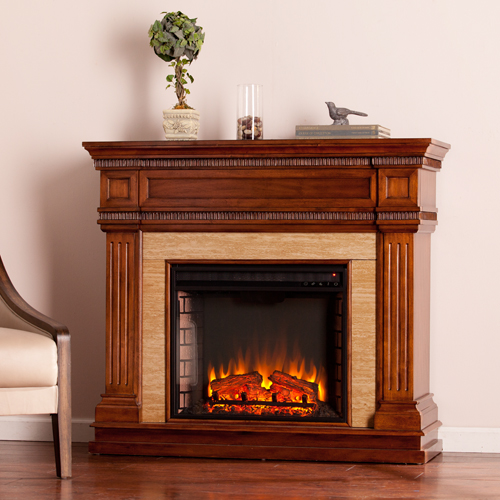 Faircrest Oak Electric Fireplace with Stone Look