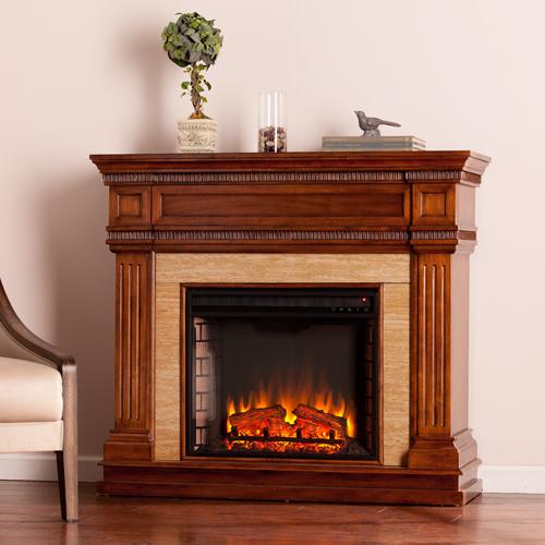 Faircrest Stone Look Electric Fireplace - Oak Saddle