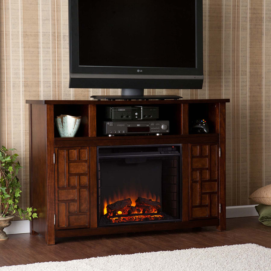 Hensley Electric Media Center Fireplace Rustic