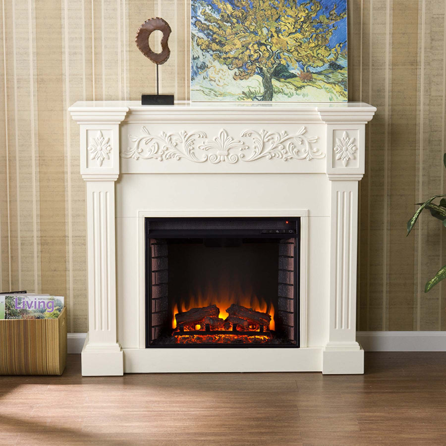 White Electric Fireplace With Antique Design