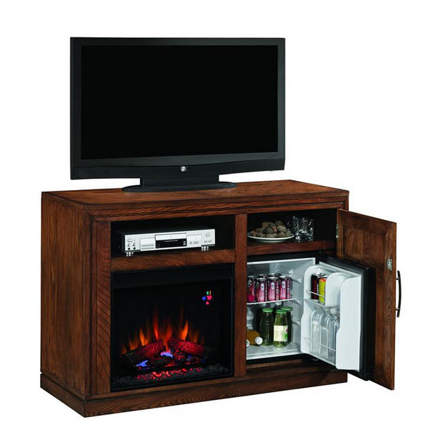 Electric Fireplace with Built in Refrigerator