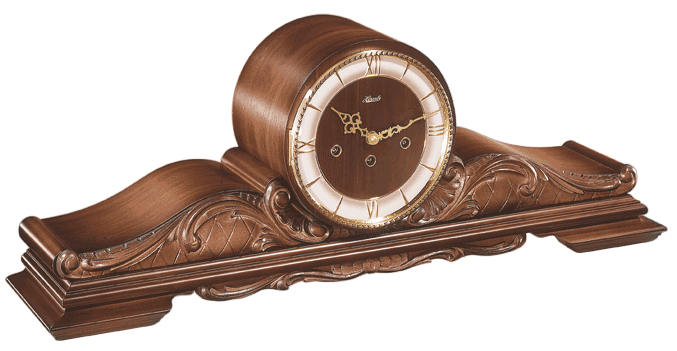Queensway Walnut Mechanical Hermle Mantel Clock