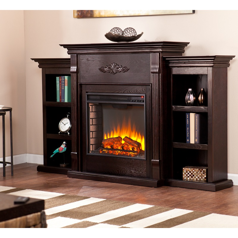 70.25'' Tennyson Classic Espresso Electric Fireplace w/ Bookcases