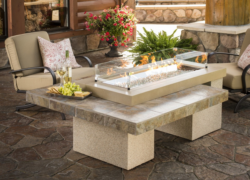 """64.5"""" Brown Tile Top Uptown Conversational Fire Pit Table"""
