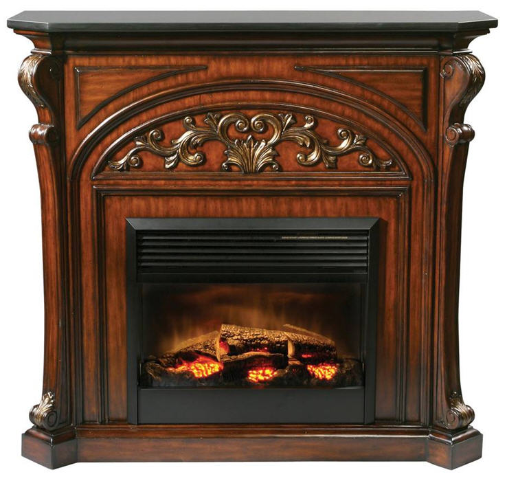 "This mahogany electric fireplace is beautifully detailed with numerous carvings and a black granite top. The firebox is 26 inches and comes with an on / off remote control. W:53.5"" x D:19"" x H:50"""