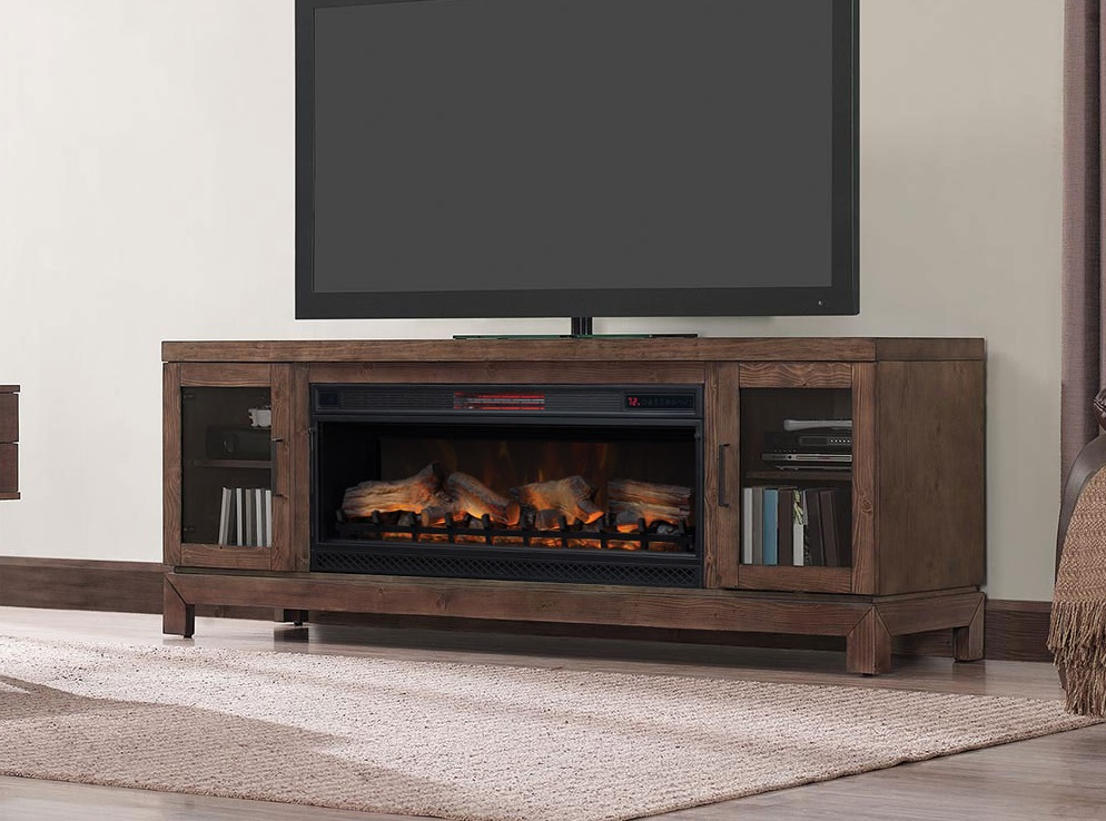 76 Quot Berkeley Mahogany Infrared Media Electric Fireplace