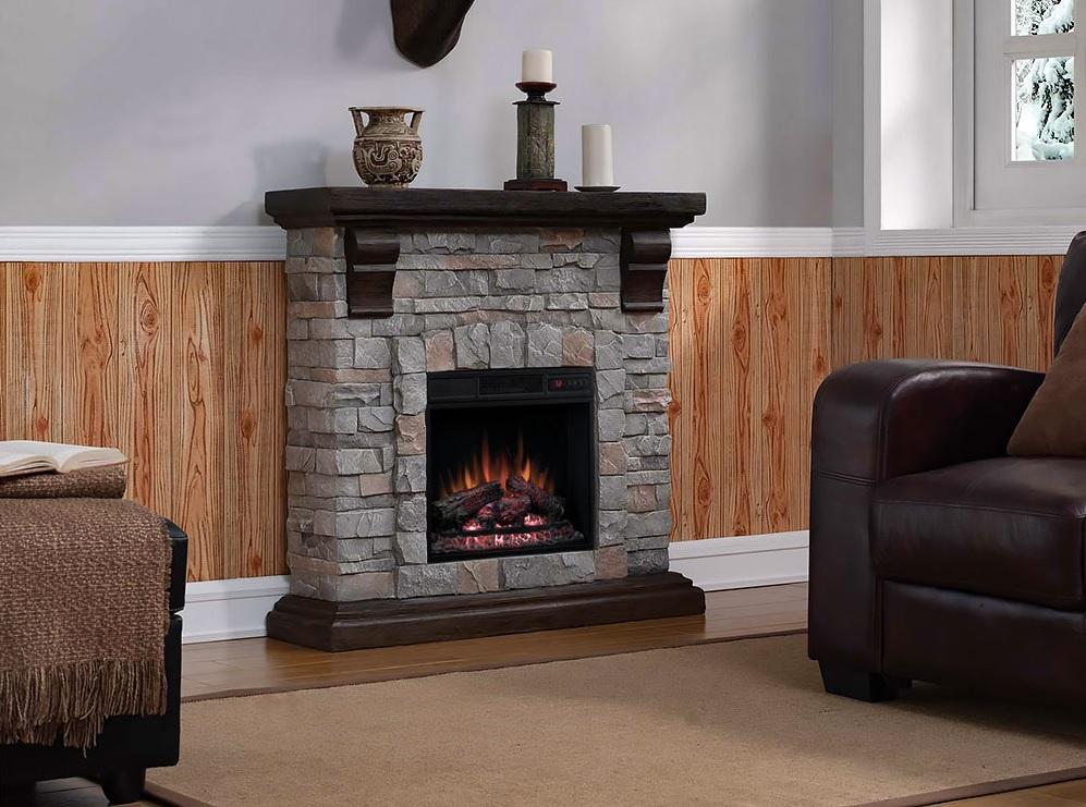 "40"" Pioneer Brushed Dark Pine Stone Electric Fireplace"