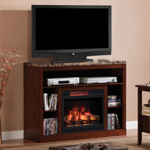 The Adams Empire Cherry Entertainment Center Electric Fireplace is designed with an engineered marble top to finish off an amazing centerpiece for any entertainment room.  Clean