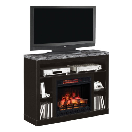 The Adams Coffee Black Entertainment Center Electric Fireplace is designed with an engineered marble top to finish off an amazing centerpiece for any entertainment room.