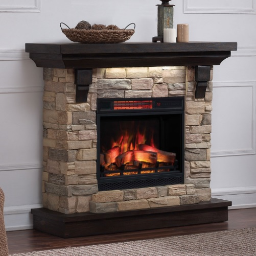 "Add an eye-catching piece to your living space that accommodates a 23"" infrared electric fireplace."