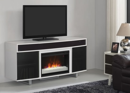 """64"""" New Enterprise White Infrared Media Electric Fireplace ..."""