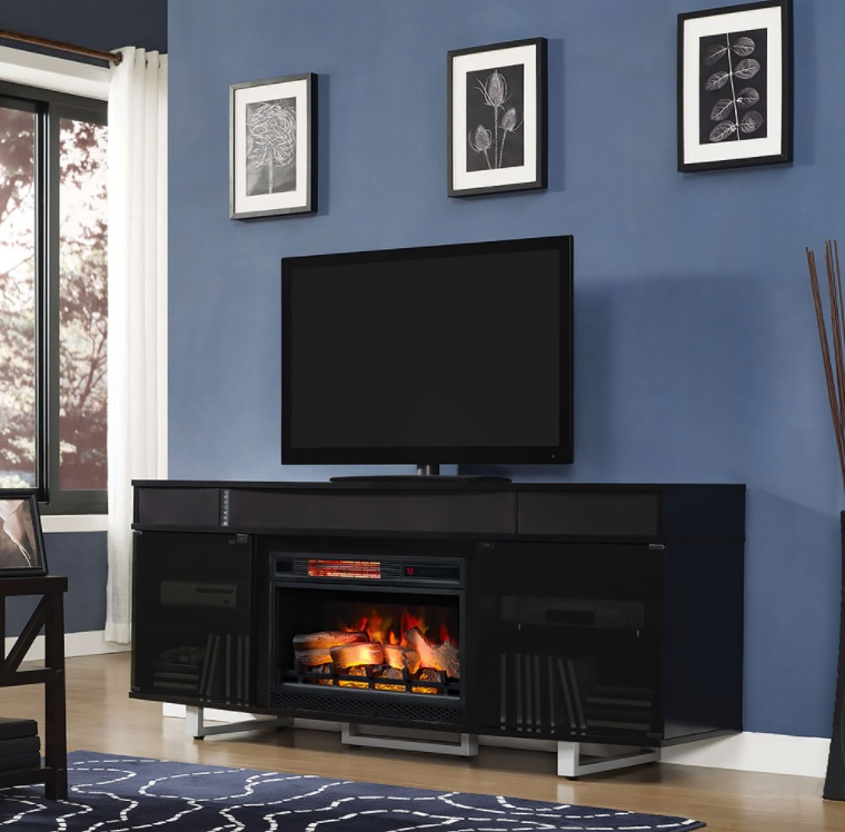 "The Enterprise TV stand with sound bar for TVs up to 80"" and 155 lbs. features a sleek design that will add a stunning"