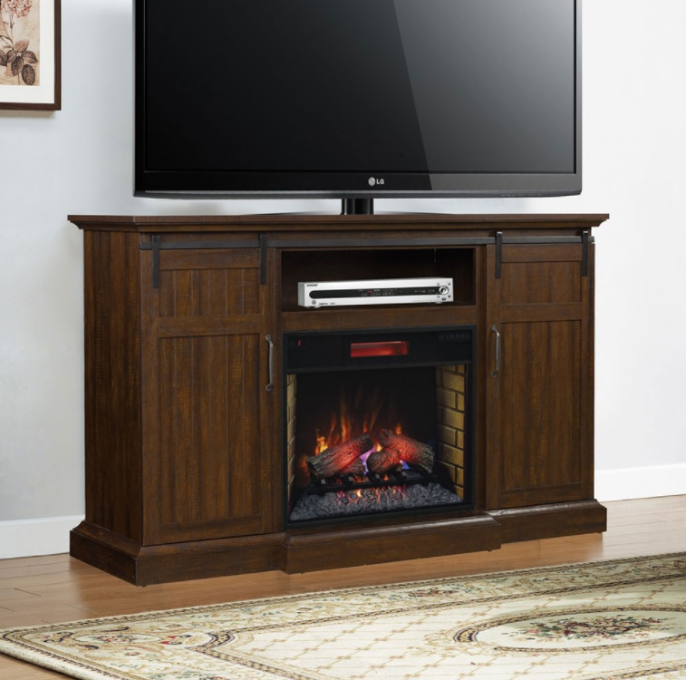 This Saw Cut Espresso TV stand will add a warm