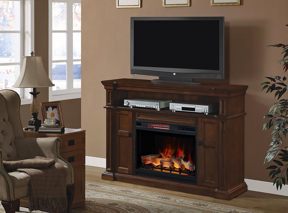 58 Quot Wyatt Vintage Mahogany Electric Fireplace Media