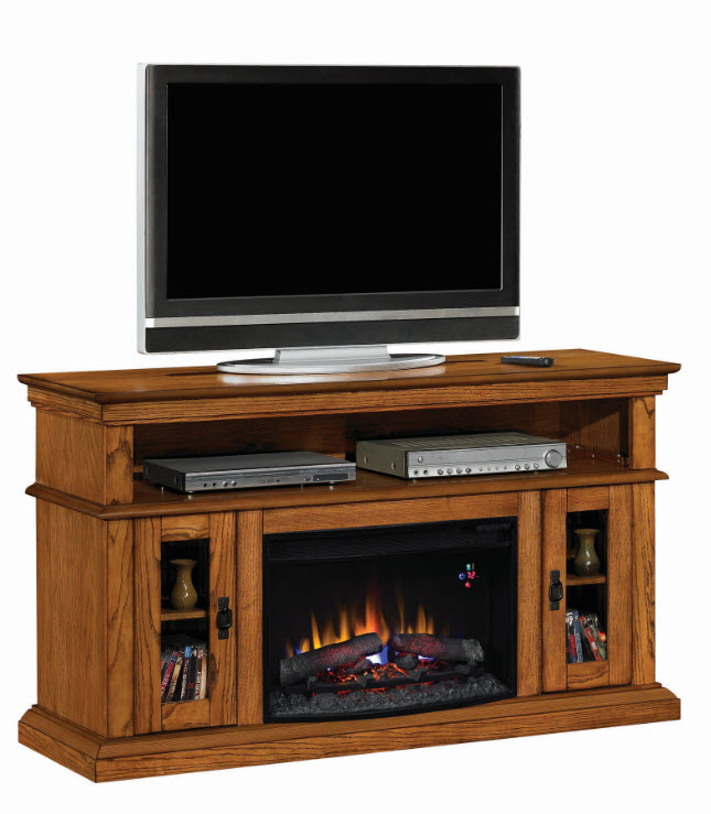 60 Brookfield Premium Oak Entertainment Center Electric