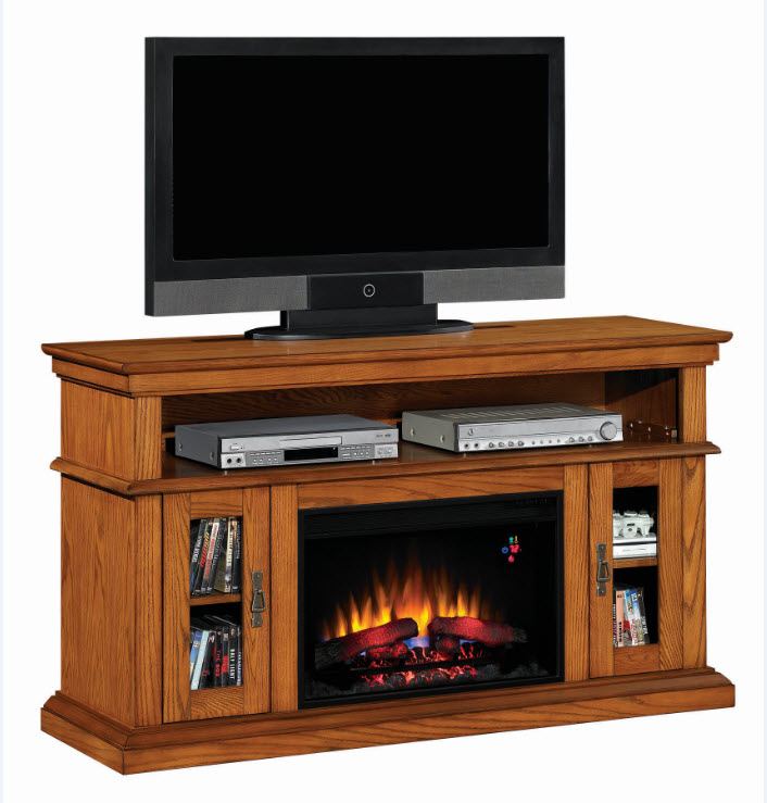 60 39 39 Brookfield Premium Oak Entertainment Center Electric Fireplace 26mm2209 O107
