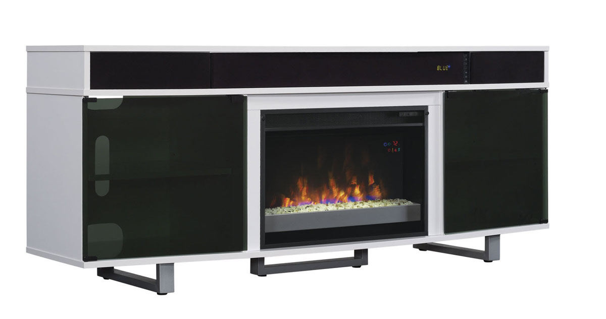 72 Enterprise High Gloss White Entertainment Center Electric Fireplace 26mms9616 Nw145