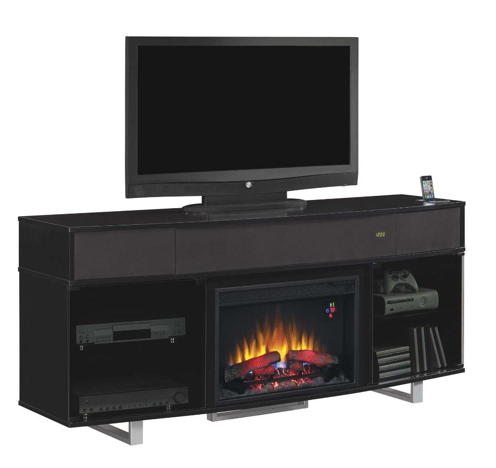 72 Enterprise High Gloss Black Entertainment Center Electric Fireplace 26mms9616 Nb157