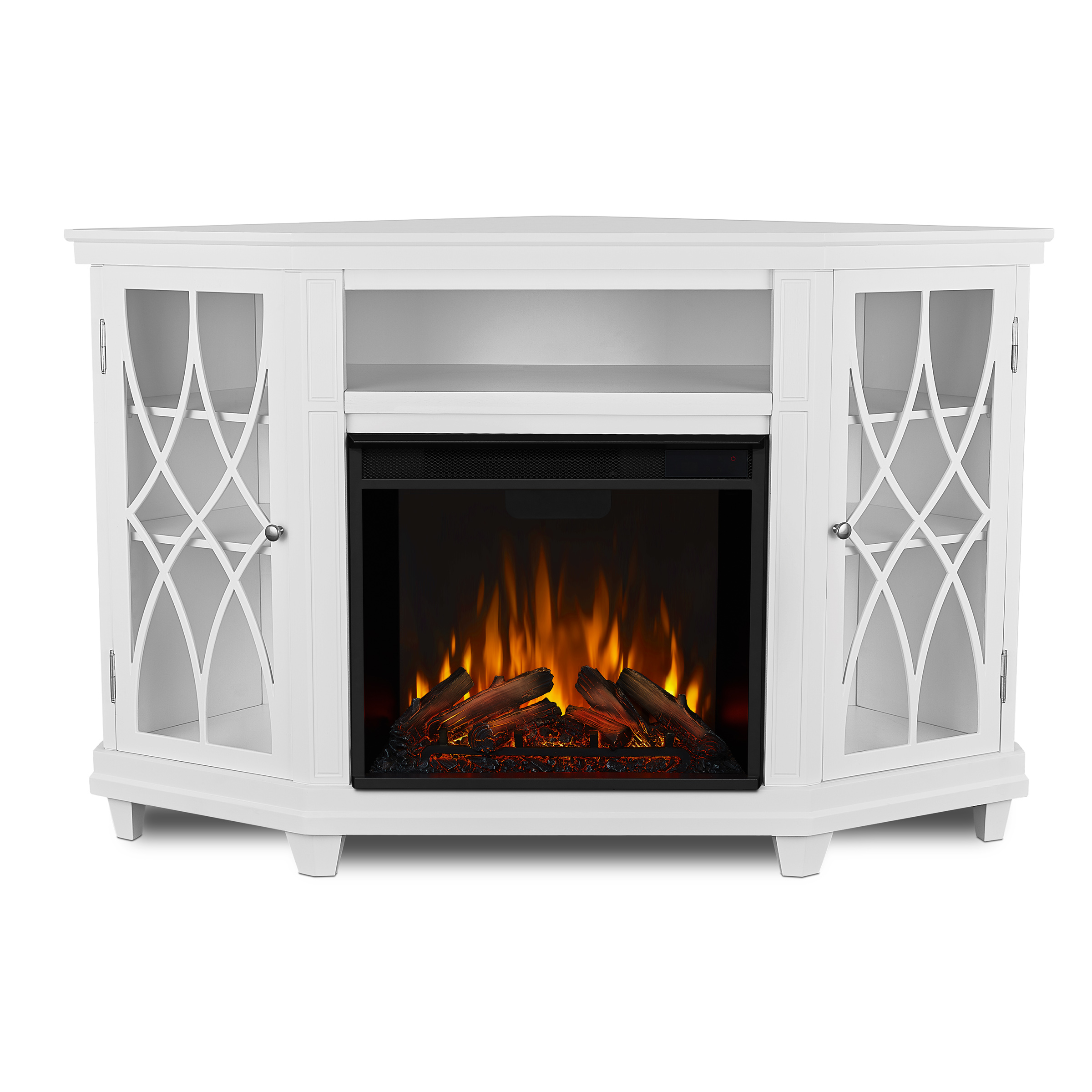White Electric Fireplace Front