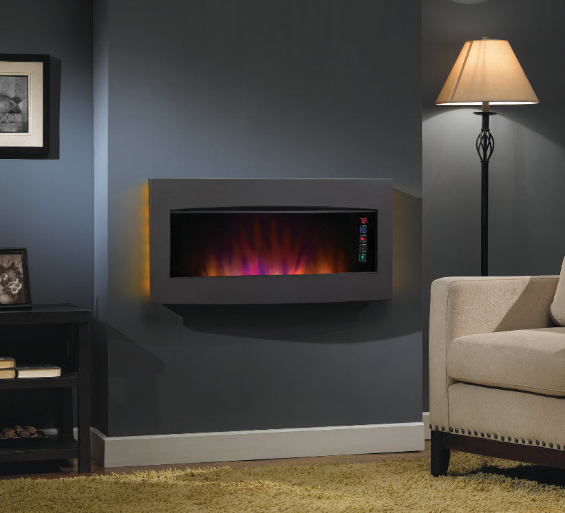 33.5'' ClassicFlame Serendipity Matte Black Wall Hanging Electric ...