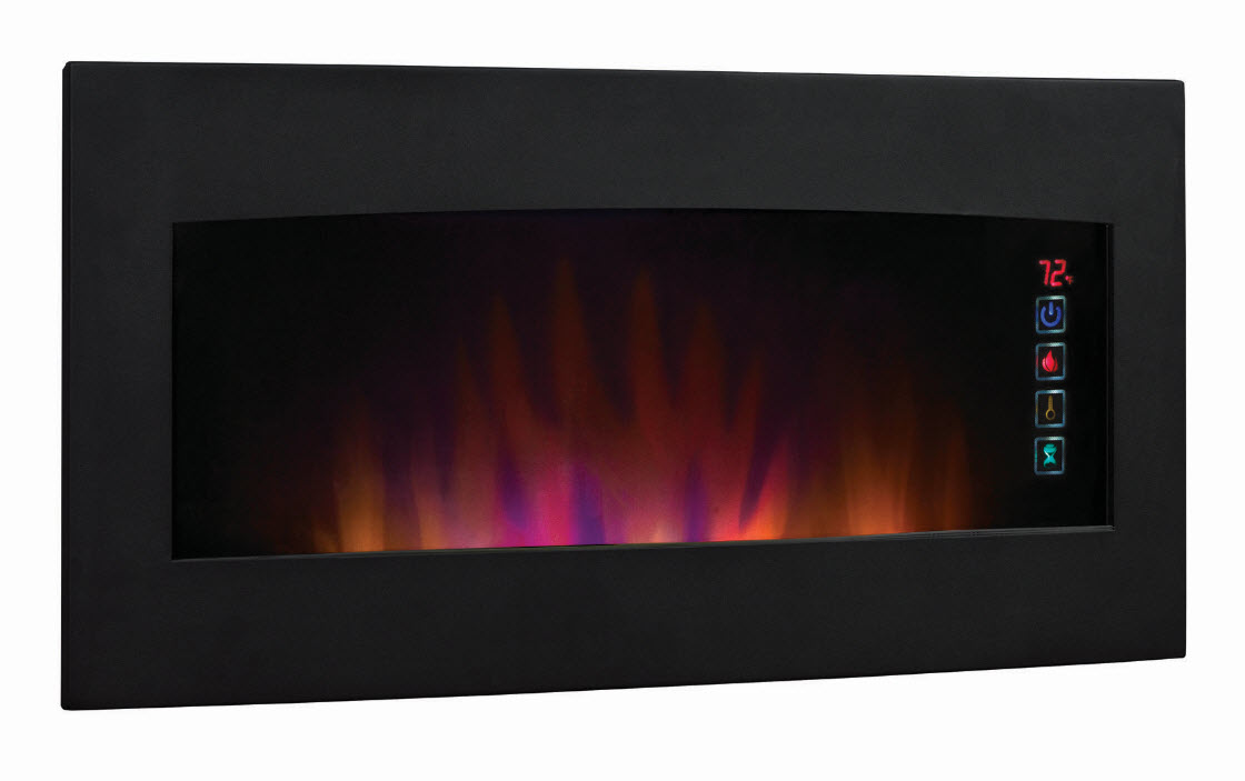 Wall Hanging Electric Fireplace 33.5'' classicflame serendipity matte black wall hanging electric