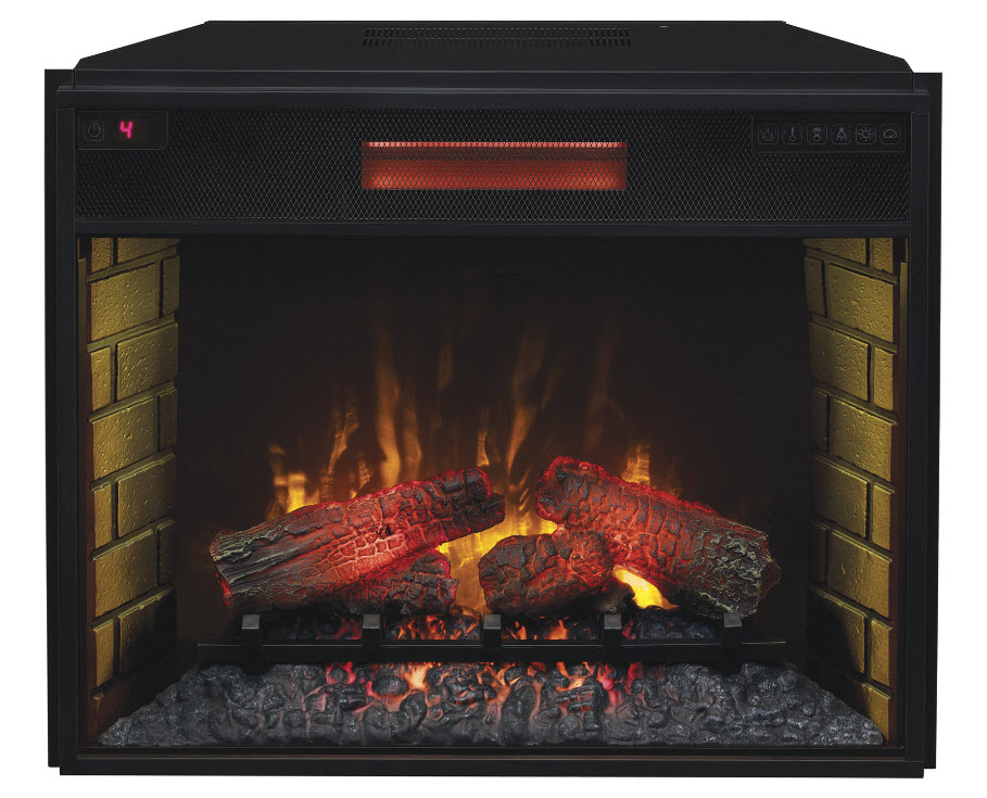 "28"" Infrared Quartz electric fireplace insert showcases energy-efficient LED Spectrafire blue flame technology with real-like ember bed and resin logs."