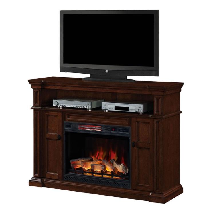 58 Quot Wyatt Vintage Mahogany Electric Fireplace Media