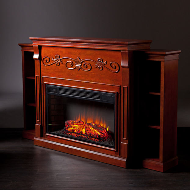 "68"" Locksley Bookcase Classic Mahogany Electric Fireplace ..."