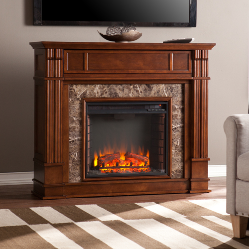 Conjure the exploration age with this whiskey maple electric fireplace.