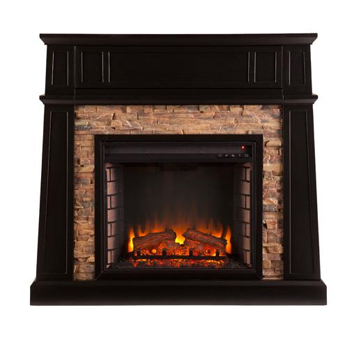 Crestwick Faux Stone Electric Media Fireplace Black Fe9344 Fi9344