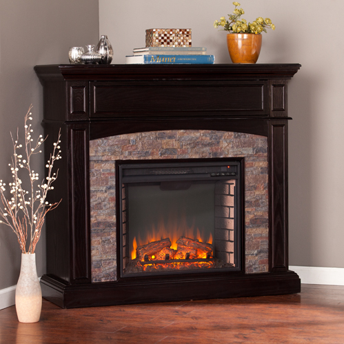 45 5 Quot Grantham Faux Stone Corner Electric Media Fireplace