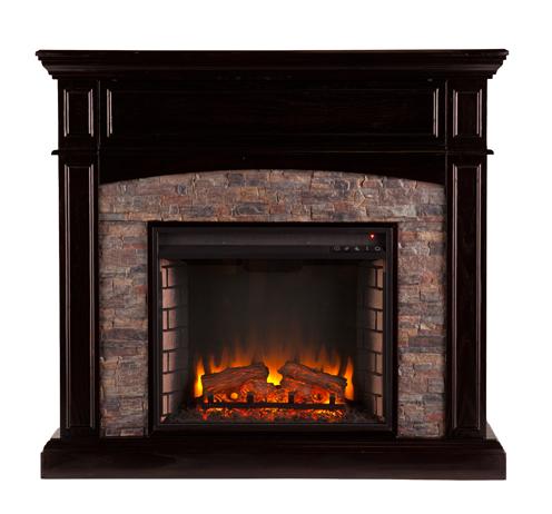 45 5 Grantham Faux Stone Corner Electric Media Fireplace Ebony Fe9359 Fi9359