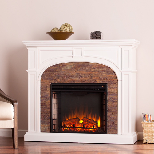 Tanaya Stacked Stone Effect Electric Fireplace White