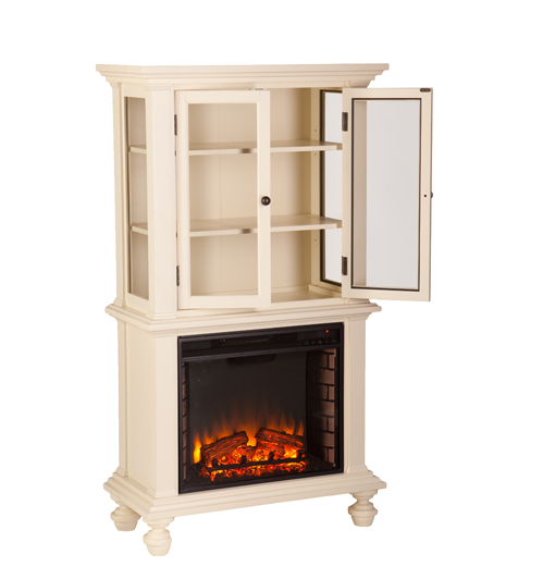 Townsend Electric Fireplace Curio Antique White Fe9828 Fi9828