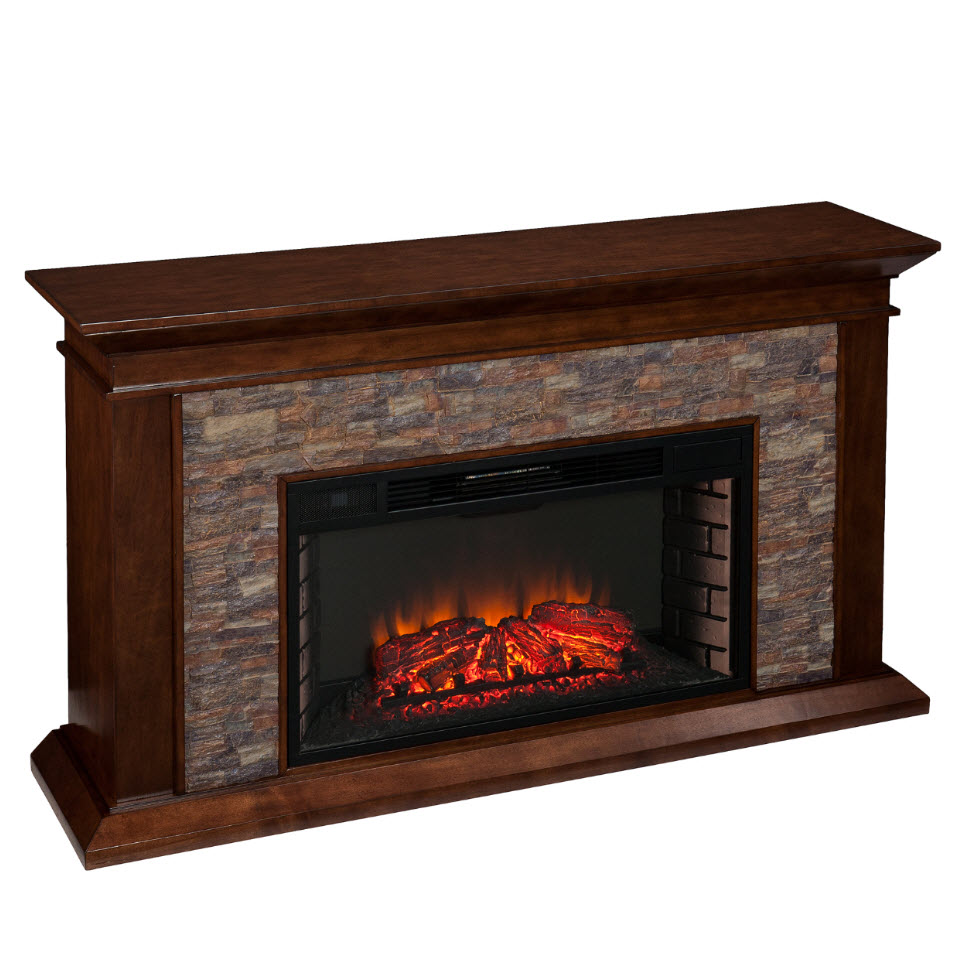 60 canyon heights simulated stone electric fireplace fe9023 for Faux marble fireplace mantels