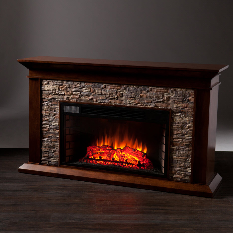 60 Quot Canyon Heights Simulated Stone Electric Fireplace Fe9023