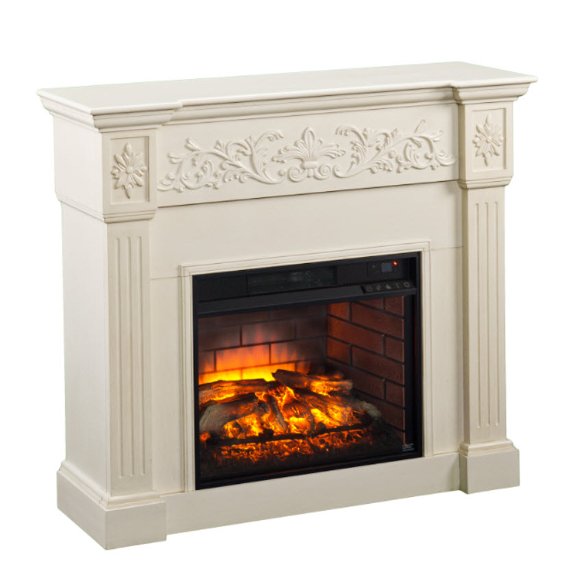 44 5 Quot Calvert Carved Infrared Electric Fireplace Ivory