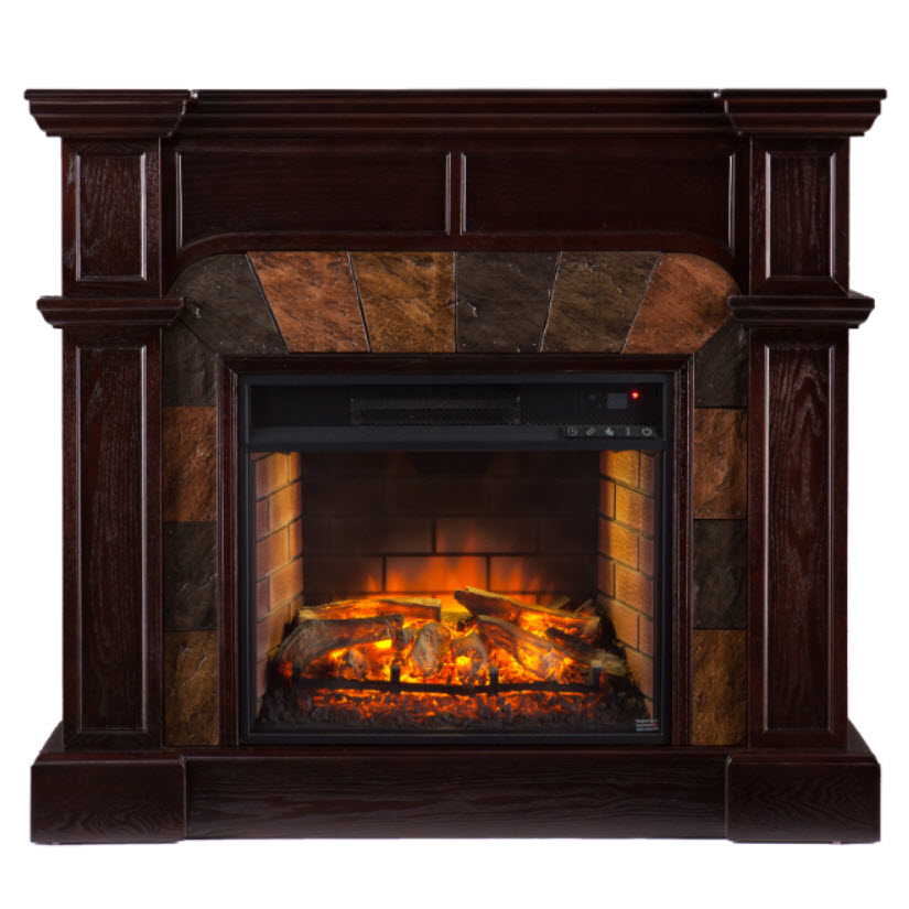 455 Cartwright Faux Stone Corner Infrared Fireplace Espresso