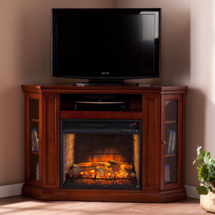 48 Claremont Corner Media Infrared Fireplace Brown Mahogany