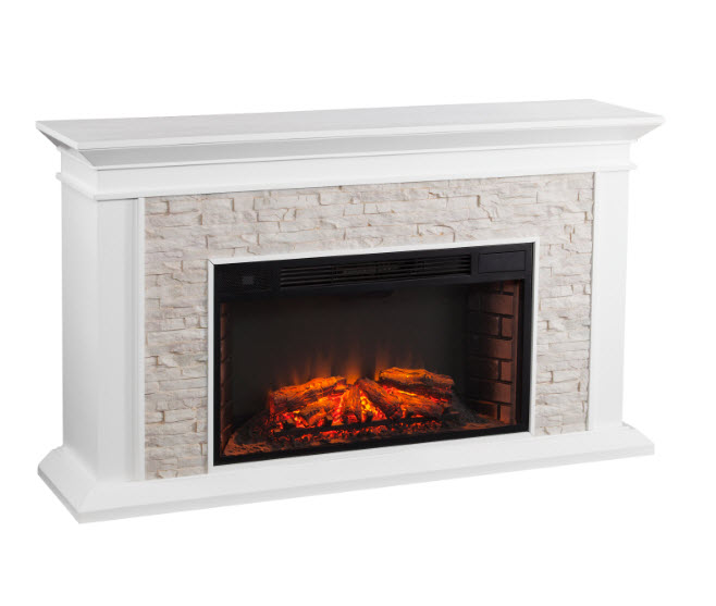 Canyon Heights Simulated Stone Electric Fireplace White