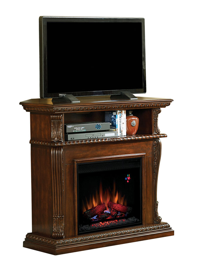 42'' Corinth Burnished Walnut Entertainment Center Wall and Corner Electric  Fireplace - 42'' Corinth Burnished Walnut Entertainment Center Wall And Corner