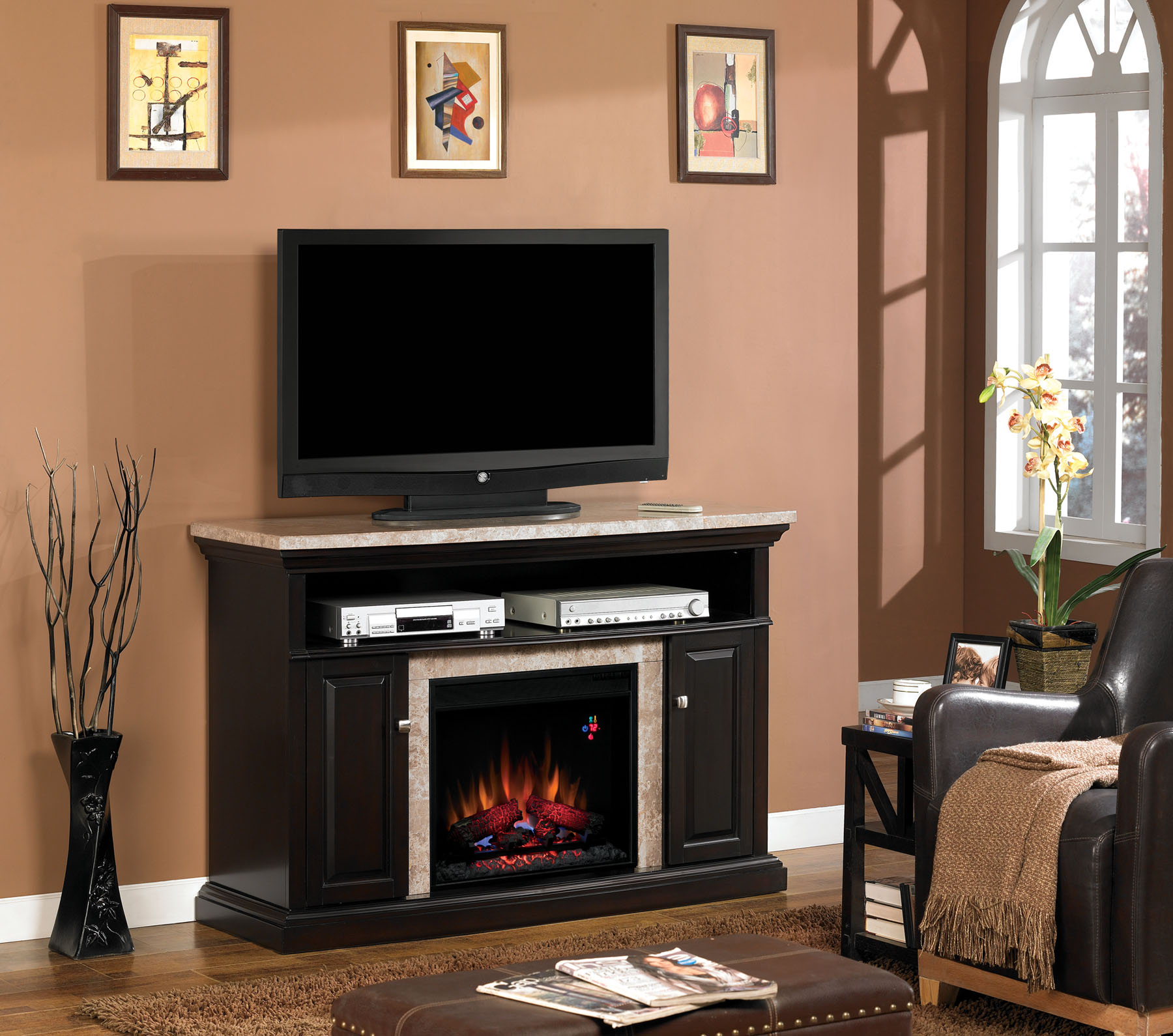package the tv mantel lynwood cabinet fireplace console in infrared electric cherry plug is media delivered and day ships vintage products consoles same accessories days